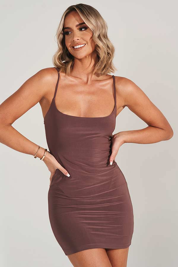 Brown Scoop Neck Bodycon Mini Dress