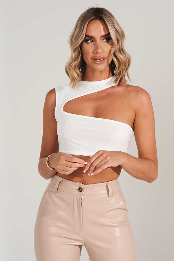 White Asymmetric High Neck Top