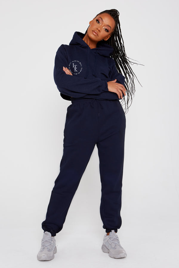 """Luxe To Kill"" Embroidery Detail Navy Cropped Hoodie"