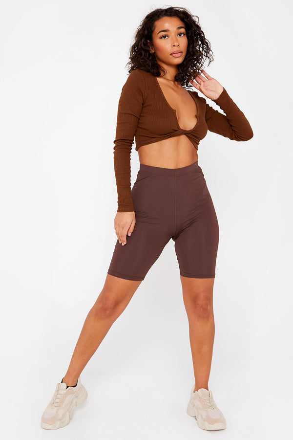 Brown Lycra Longline Cycling Shorts