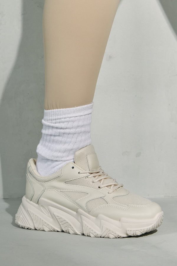 Beige Track Trainers