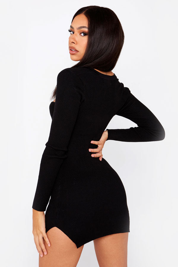 Black Corset Knitted Extreme Mini Dress