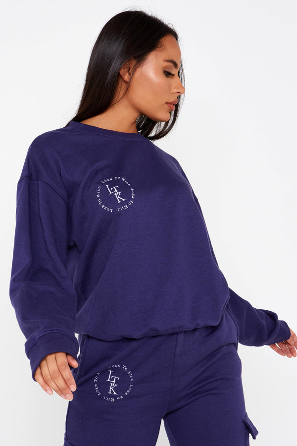 """Luxe To Kill"" Embroidery Detail Royal Blue Crew Neck Sweater"