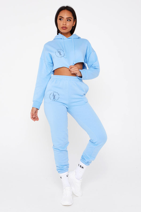 """Luxe To Kill"" Embroidery Detail Sky Blue Cuffed Hem Joggers"