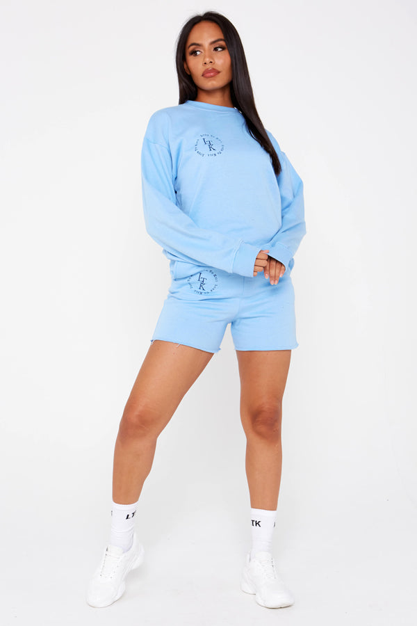 """Luxe To Kill"" Embroidery Detail Sky Blue Crew Neck Sweater"