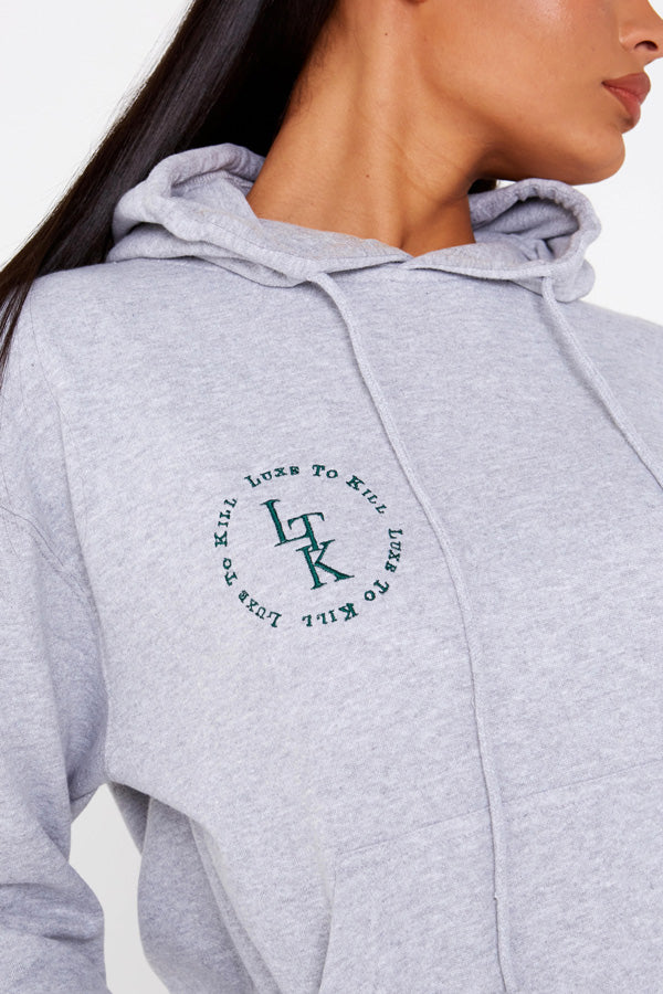 """Luxe To Kill"" Embroidery Detail Grey Drawstring Hoodie"