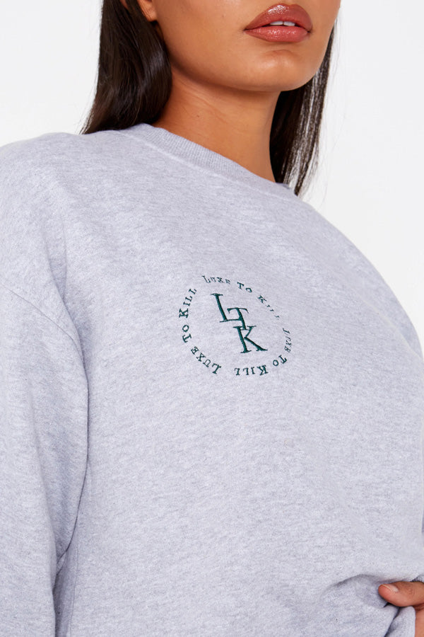 """Luxe To Kill"" Embroidery Detail Grey Crew Neck Sweater"