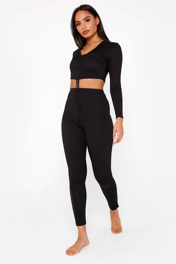 Black Ruched Crop Top & Ribbed Legging Co-ord