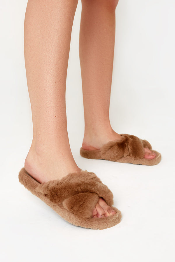 Cross Strap Fluffy Slippers in Mocha Vegan Fur