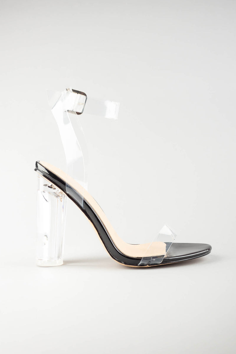 Aaliyah Black Sandal with Clear Perspex Strap