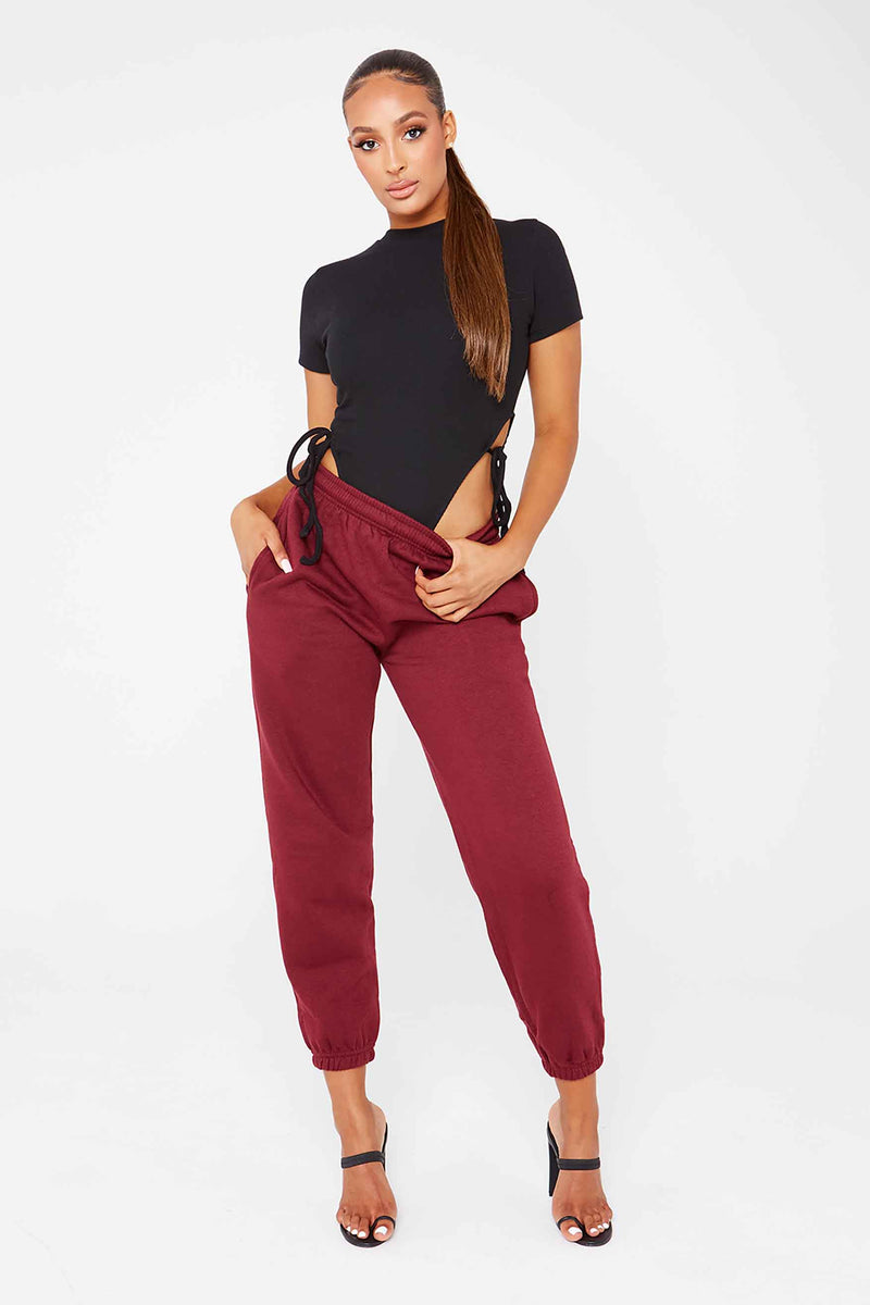 Wine Oversized Fleece Joggers
