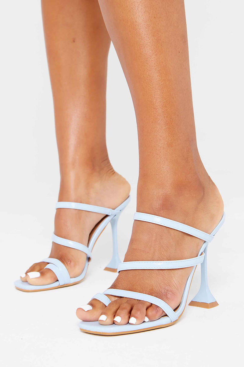 Lara Toe Loop Heels in Blue Vegan Leather