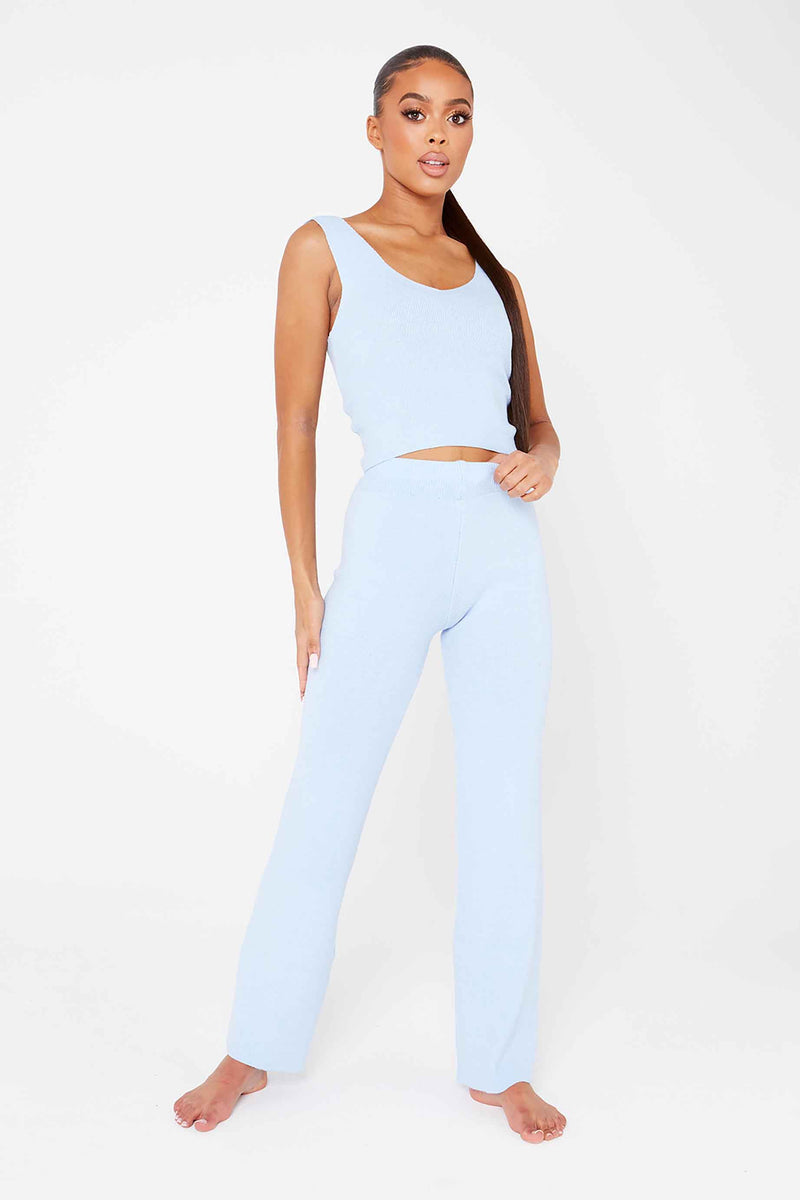 Baby Blue Crop Top & Trouser Co-Ord
