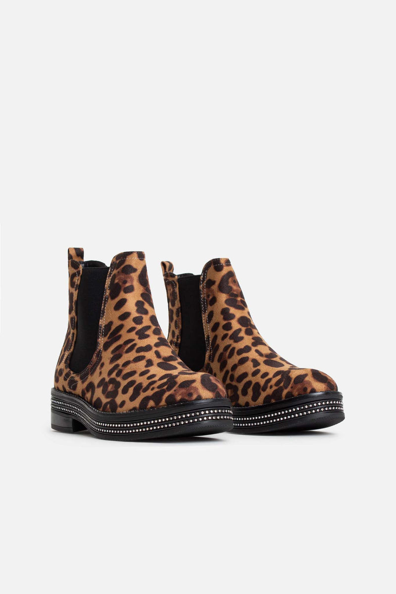 Aina Diamante Studded Ankle Boots in Leopard Vegan Suede
