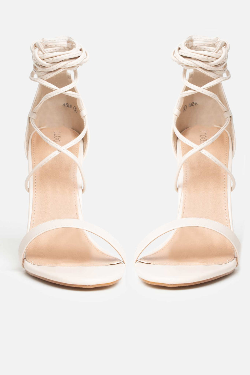 Aisha Lace Up Heels in Beige Vegan Leather