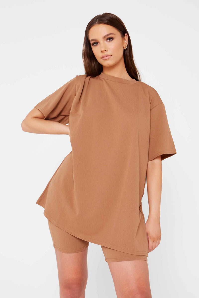 Camel Oversized T-Shirt & Shorts Co-ord