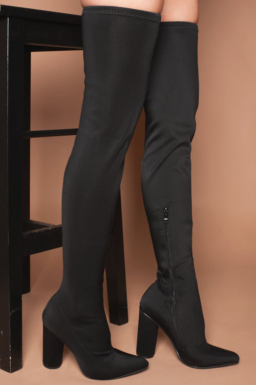 Alessia Over The Knee Boots in Black Lycra