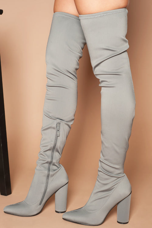 Amy Over The Knee Boots in Grey Lycra
