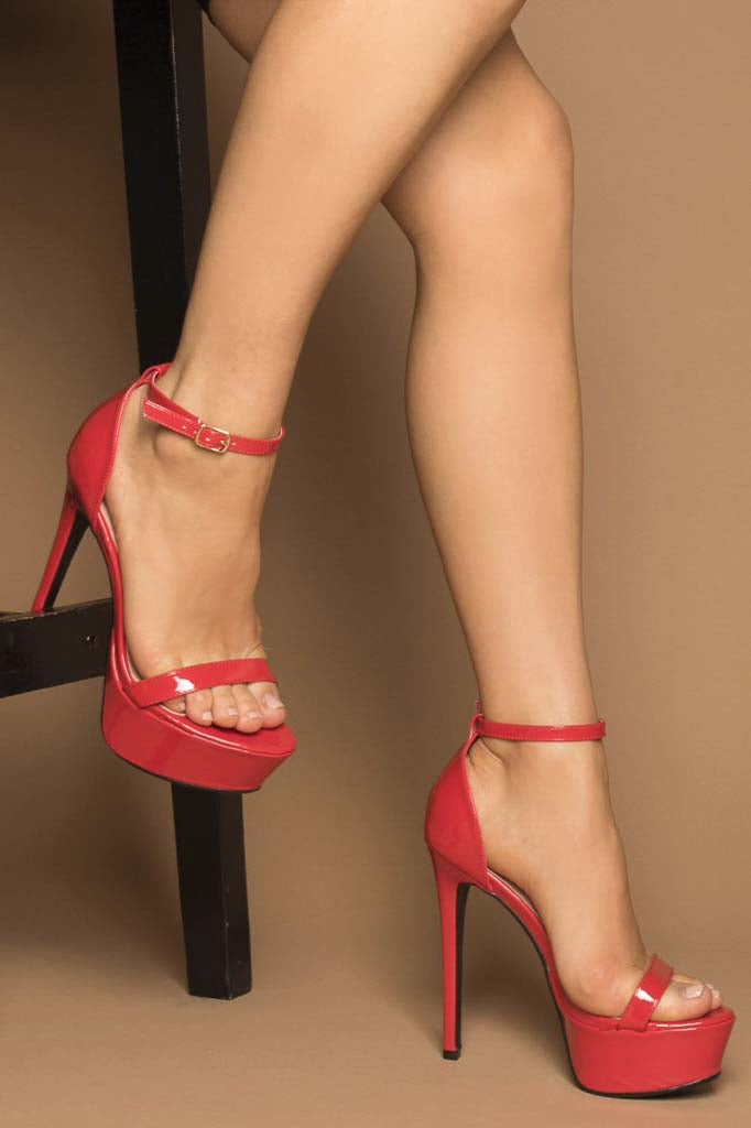 Anara Platform Heels in Red Vegan Patent Leather