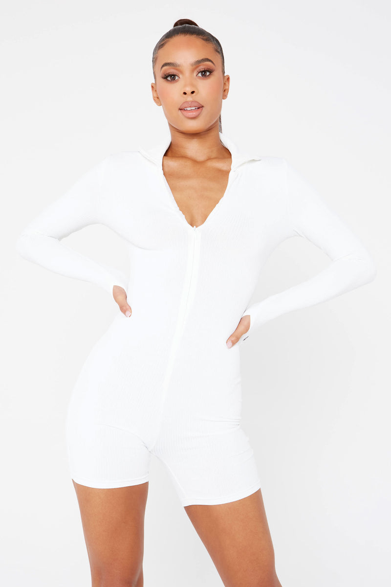White Slogan Ribbed Unitard