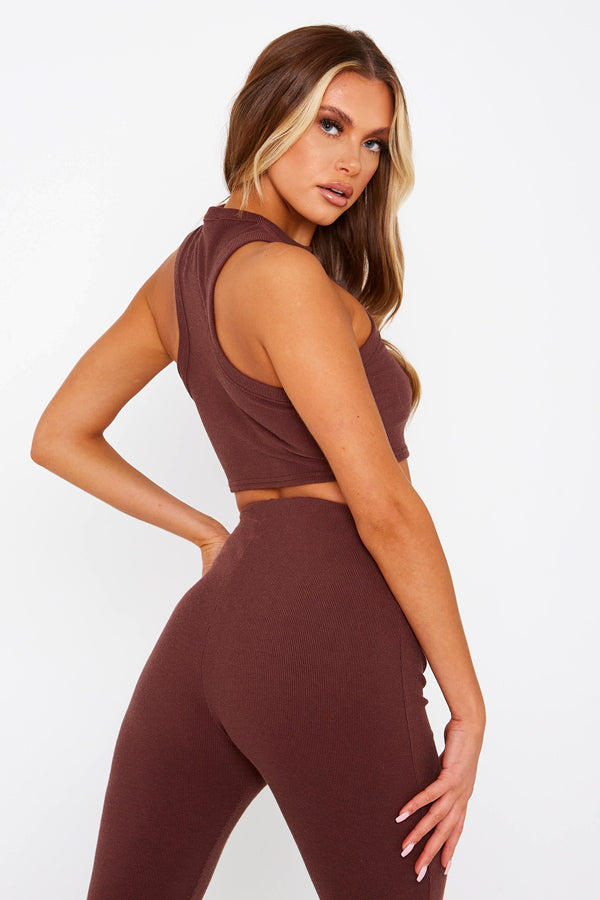 Brown Ribbed Racerback Crop Top