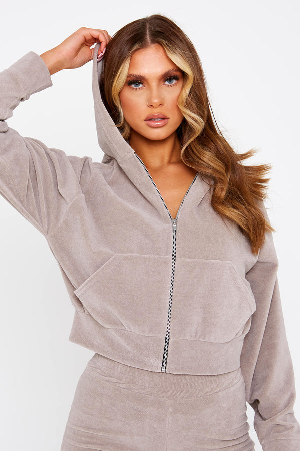 Taupe Cropped Soft Velour Hoodie