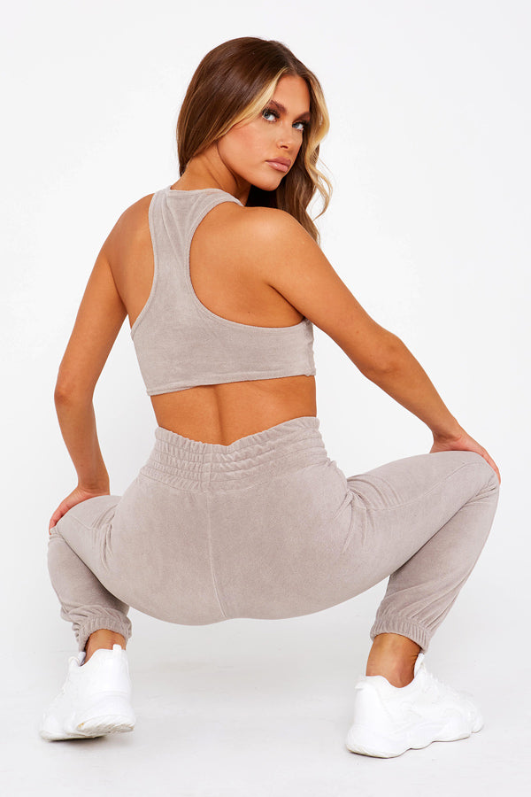 Taupe Velour Racerback Top