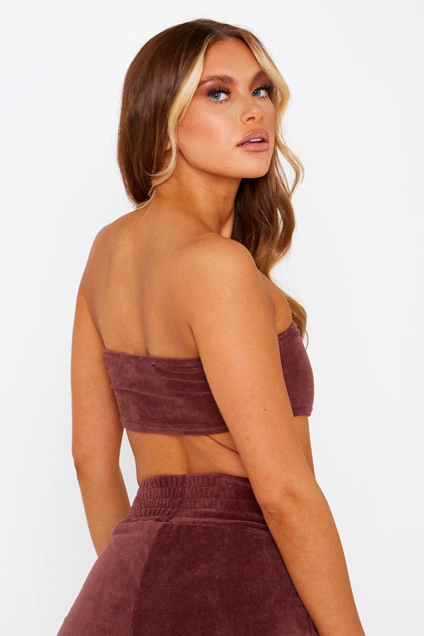 Chocolate Brown Velour Bandeau Top