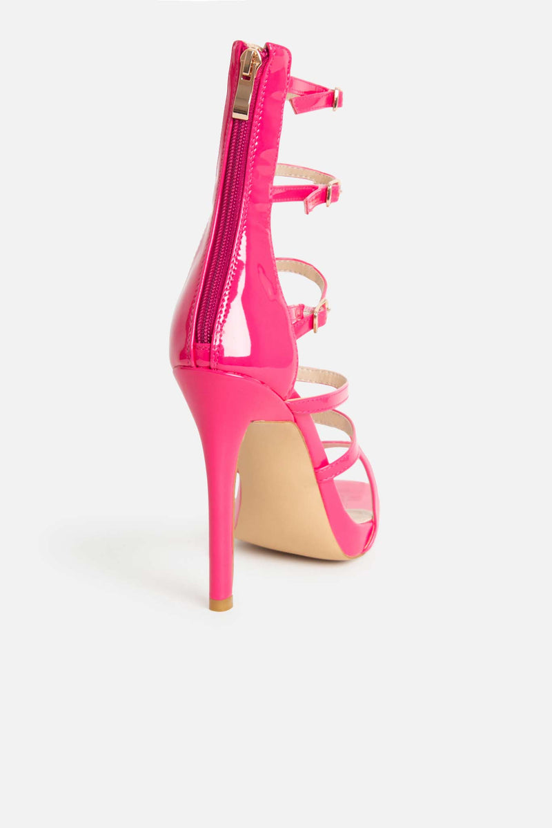 Aria Platform Heels in Hot Pink Vegan Leather