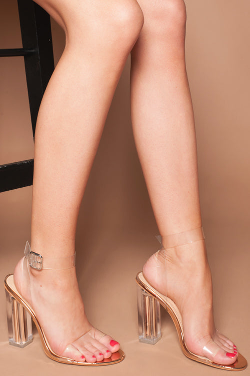 Aaliyah Rose Gold Sandal with Clear Perspex Strap