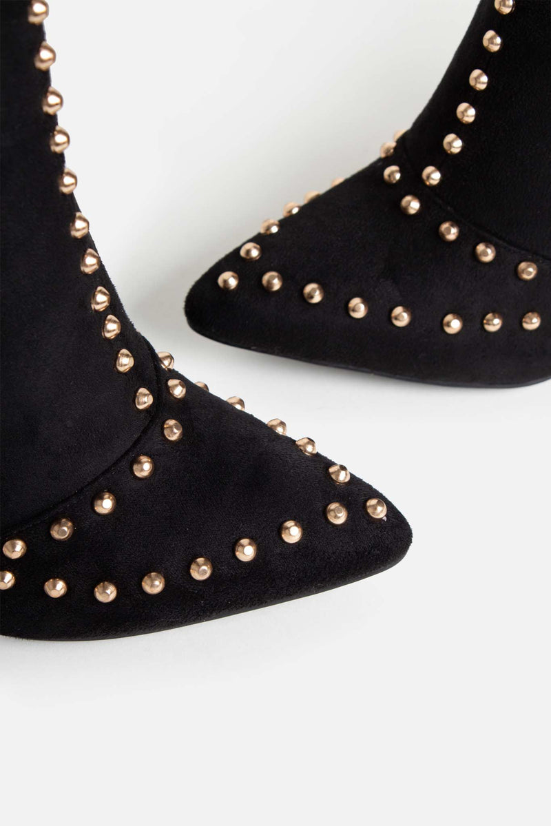 Ava Studded Ankle Boots in Black Vegan Suede
