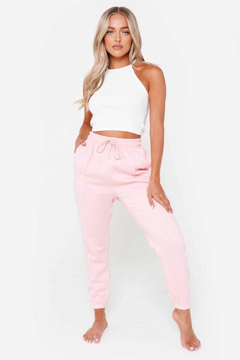 Baby Pink Seam Front Joggers