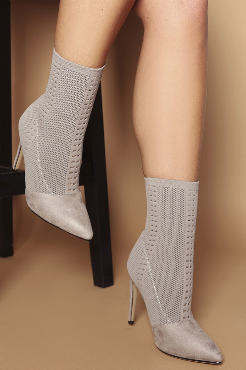 Bella Point Booties in Grey Woven Knit Lycra