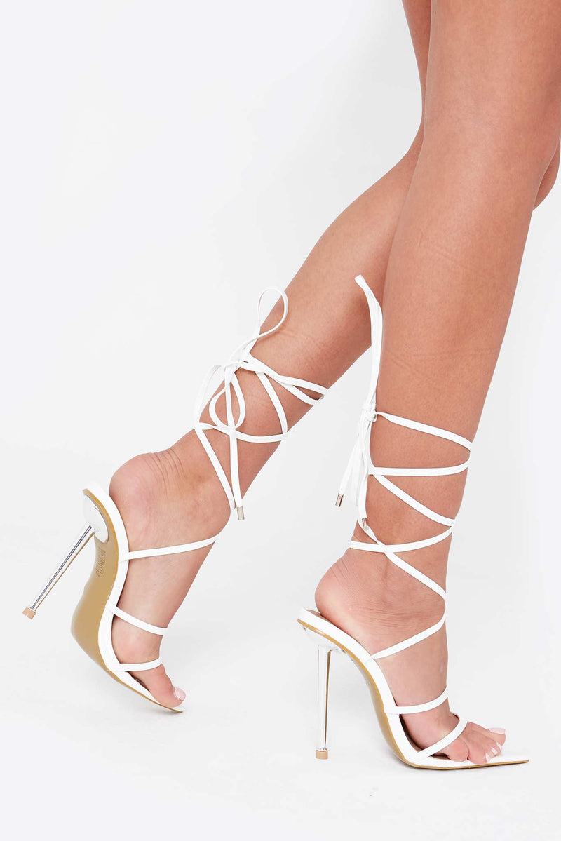 Izzy Lace Up Pointed Heels in White Vegan Leather