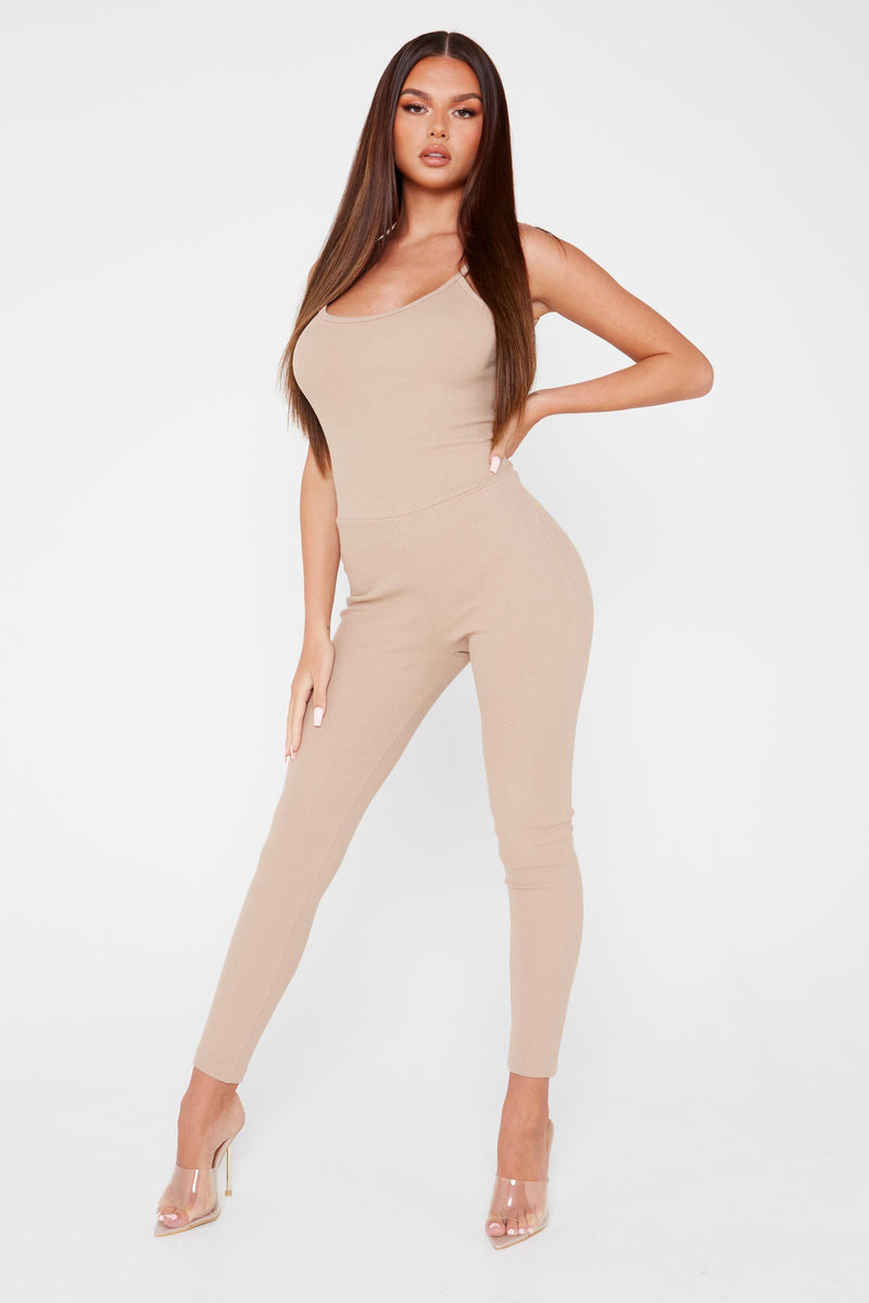 Beige Ribbed Strappy Jumpsuit