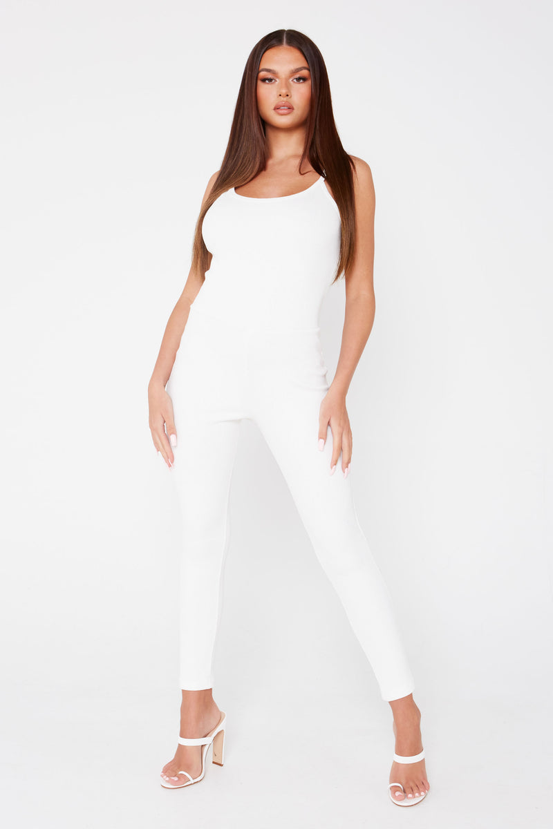 White Ribbed Strappy Jumpsuit