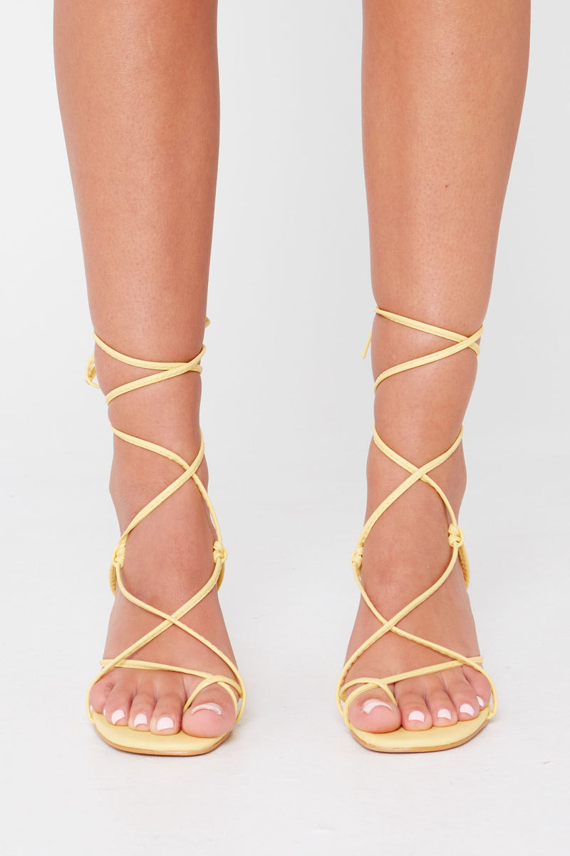 Ella Low Heel Ankle Tie Sandals in Yellow Vegan Leather