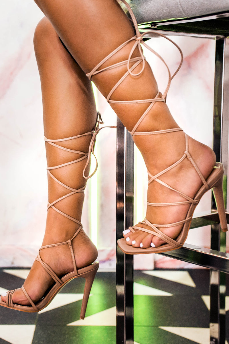 Blaise Lace Up Heels in Beige Vegan Leather