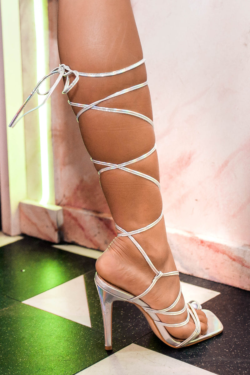 Blaise Lace Up Heels in Iridescent Silver Vegan Leather
