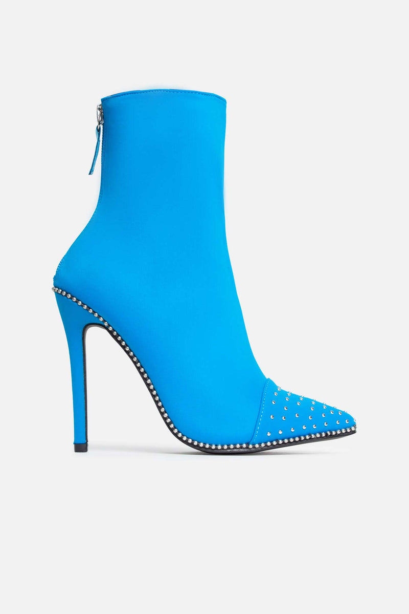 Brody Studded Ankle Boots in Turquoise Lycra