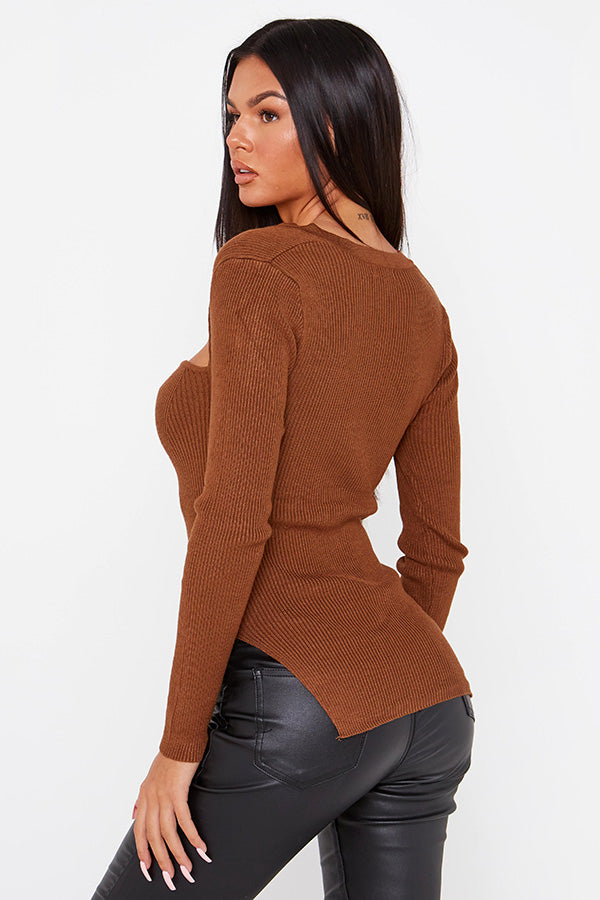 Brown Knitted Corset Top