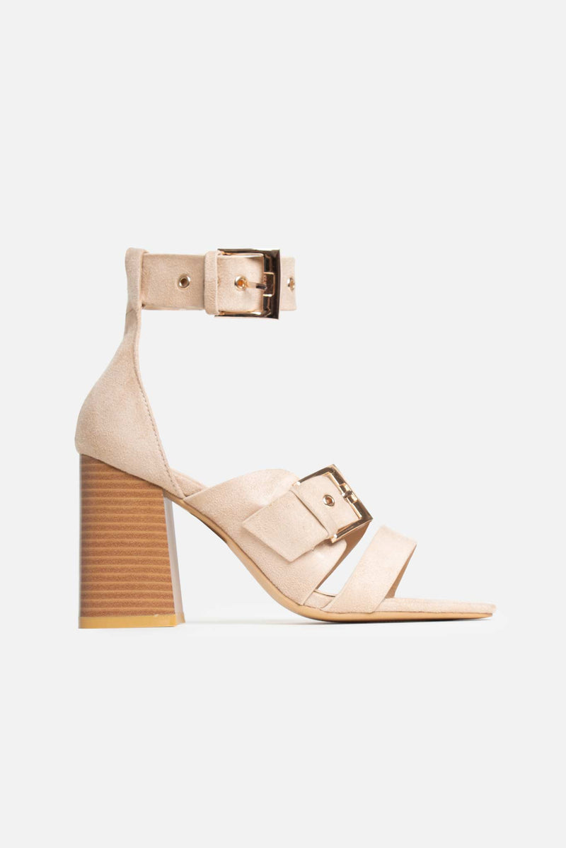 Cadie Block Heeled Buckle Sandals in Beige Vegan Suede