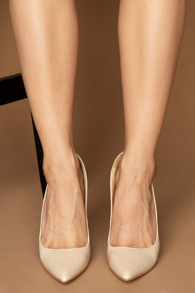 #LuxeForAll Cassie Court Heels in Beige Vegan Leather