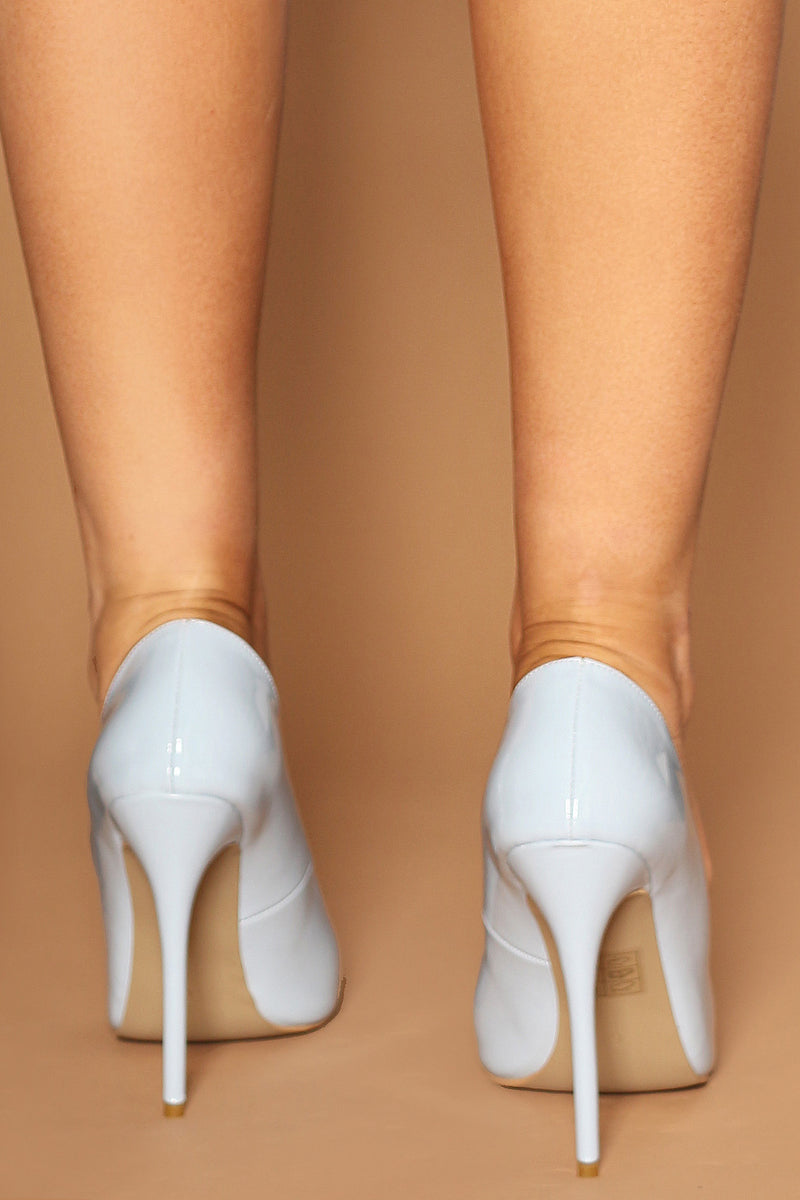 Christiana Patent Pumps in Baby Blue Vegan Leather