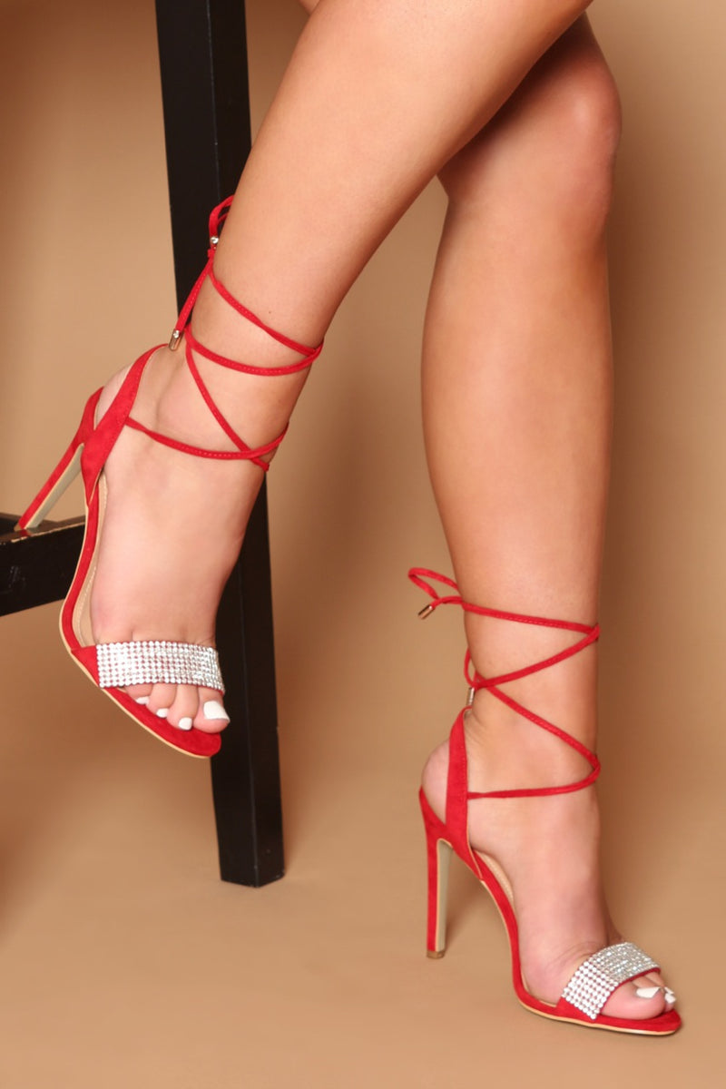 Clara Diamanté Lace Up Heels in Red Vegan Suede