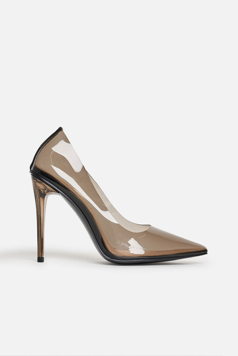 Clarissa Black Court Pumps in Smoke Perspex