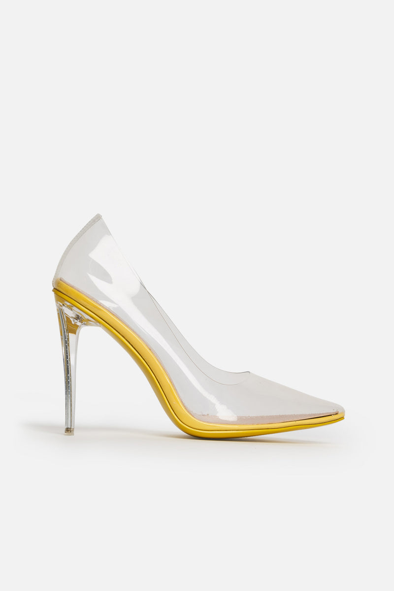 Clarissa Yellow Pumps in Clear Perspex