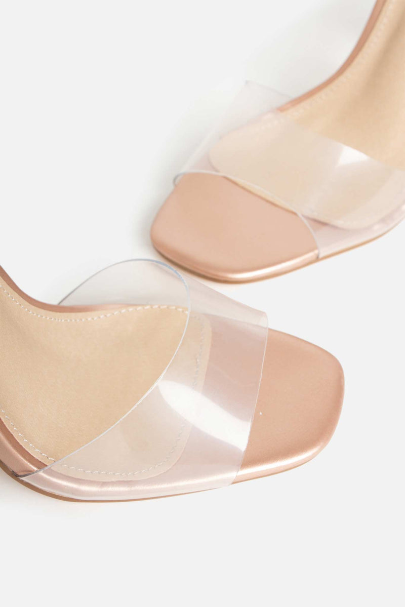 Ombré Crush Perspex Heels in Rose Gold Vegan Leather