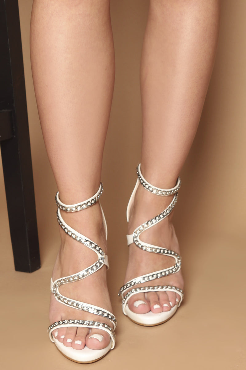 Darcy Chain Heels in White Vegan Leather