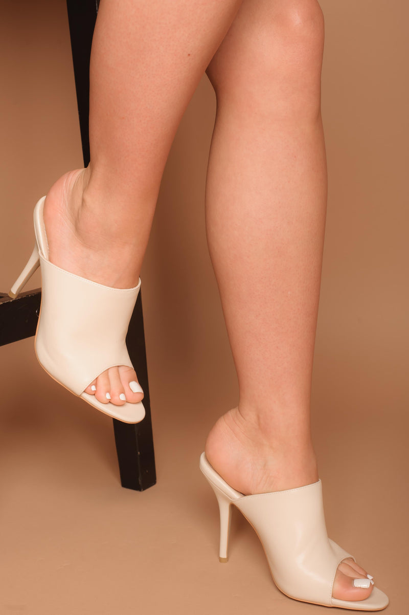 Kris Peep-Toe Mules in Cream Vegan Leather